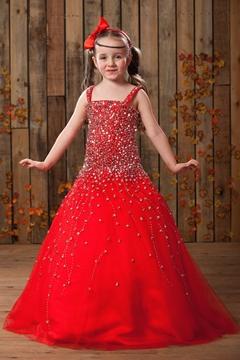 Elegant Ball Gown Square Neckline Floor-length Sequins Flower Girl Dress
