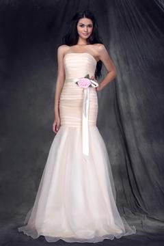 Elegant Flower Mermaid-Trumpet Strapless Sleeveless Bridesmaid Dress