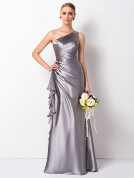 Elegant Sheath-Column One Shoulder Long Bridesmaid Dress