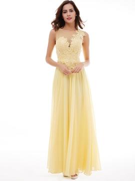 Evening Dress A-Line Scoop Neckline Lace-Up Applique Lace