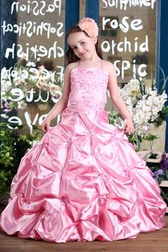 Fashion Ball Gown Floor-Length Spaghetti Straps Pleats Flower Girl Dress