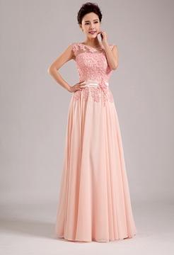 Gorgeous A-Line Scoop Appliques Floor-Length Bridesmaid Dress