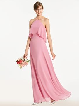 Halter A Line Backless Long Bridesmaid Dress