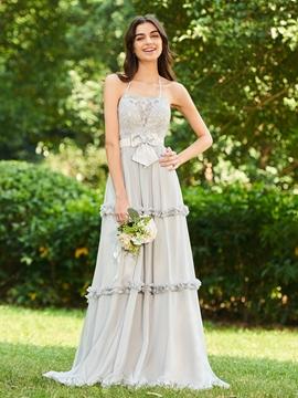 Halter Backless Long Bridesmaid Dress