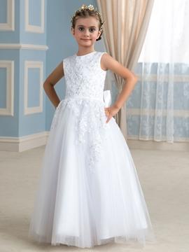 High Quality Floor Length Appliques A line Flower Girl Dress