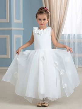 High Quality Flowers Jewel A Line Flower Girl Dress