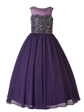 High Quality Jewel Beaded Ball Gown Flower Girl Party Dress