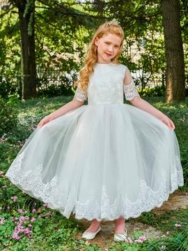 Jewel A Line Appliques Short Sleeves Flower Girl Dress