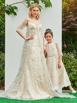 Jewel A Line Lace Ankle Length Flower Girl Party Dress