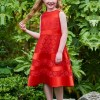 Jewel A Line Lace Tea Length Flower Girl Dress