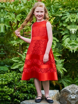 Jewel A Line Lace Tea Length Flower Girl Dress