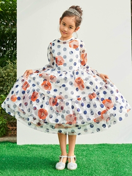 Jewel A Line Long Sleeves Tea Length Print Flower Girl Party Dress