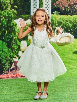 Lace A Line Tea Length Flower Girl Dress