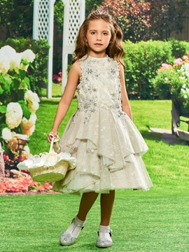 Lace Beaded Knee Length Flower Girl Party Dress