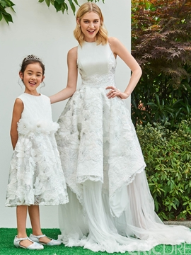Lace Jewel A Line Knee Length Appliques Flower Girl Dress