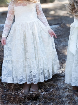 Lace Long Sleeves A Line Flower Girl Dress