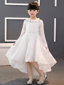 Lace Scoop High-Low Flower Girl Dress with Sleeves