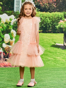 Lace Tea Length Flower Girl Party Dress