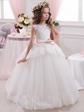 Lace Tulle Floor Length Ball Gown Flower Girl Dress