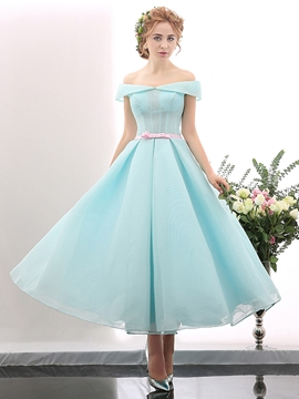 Off Shoulder Short Sleeves Bowknot A-line Ankle Length Prom Dress
