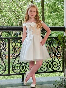 Off The Shoulder A Line Knee Length Flower Girl Dress
