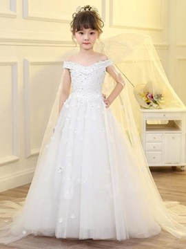 Off The Shoulder Ball Gown Tulle Flower Girl Dress