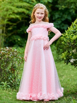 Off The Shoulder Flowers A Line Tulle Flower Girl Party Dress