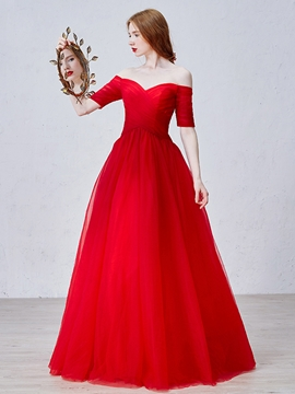 Off-The-Shoulder Half Sleeve Evening Dress