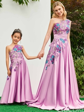 One Shoulder A Line Appliques Matte Satin Flower Girl Dress