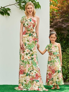 One Shoulder A Line Printed Flower Girl Party Dress