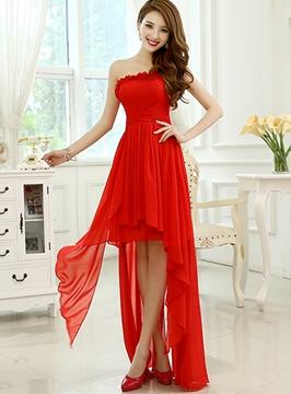 One Shoulder Asymmetry Lace-Up A-Line Bridesmaid Dress
