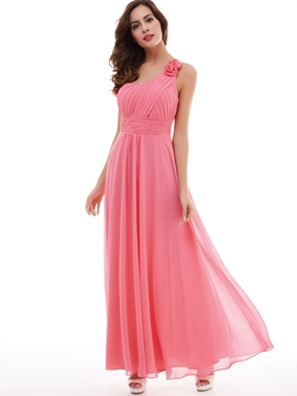 One-Shoulder Flower Pleated Chiffon A-Line Prom Dress