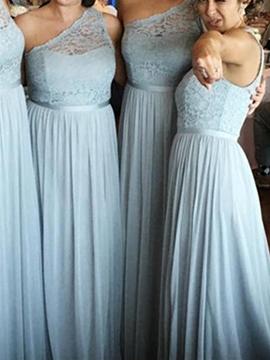 One Shoulder Lace A Line Chiffon Bridesmaid Dress