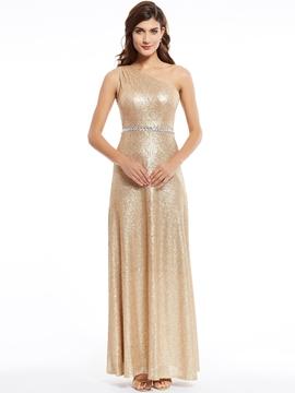 One Shoulder Sequins A Line Long Evening Dress