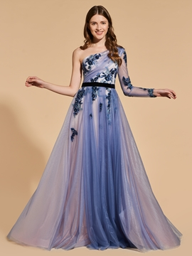 One Sleeve Sequin Applique Long Prom Dress