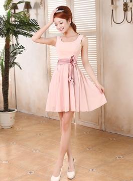 Pretty A-Line Square Straps Short Bridesmaid Dress