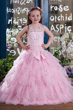 Pretty Ball Gown Halter Floor-length Tiered Flower Girl Dress