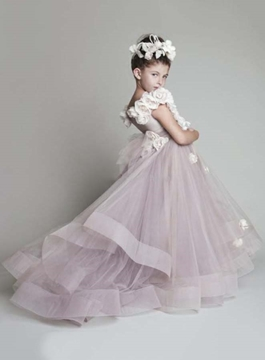 Pretty Handmade flowers One-shoulder Flower Girls Dress