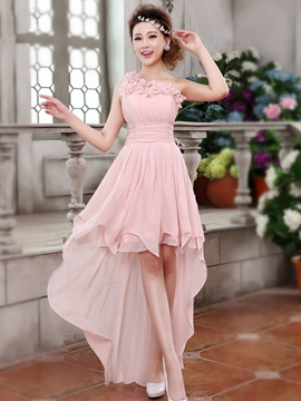 Pretty One Shoulder Flowers Asymmetry Bridesmaid Dress