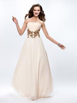 Pretty Pleats Appliques A-Line Zipper-up Floor-Length Prom Dress