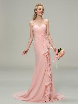 Pretty Spaghetti Straps Flowers A-Line Bridesmaid Dress