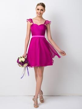 Pretty Straps Knee Length Bridesmaid Dress