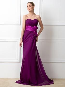 Pretty Sweetheart Bowknot Sheath Bridesmaid Dress