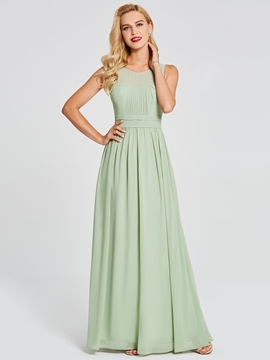 Scoop A Line Chiffon Long Bridesmaid Dress
