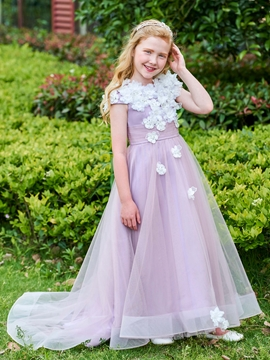 Scoop A Line Flowers Tulle Flower Girl Dress