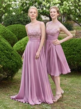 Scoop Lace A Line Long Bridesmaid Dress