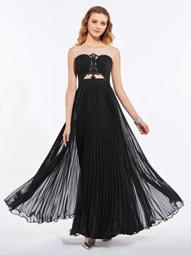 Scoop Neck Appliques Pleats A Line Long Prom Dress