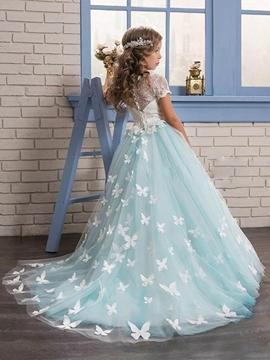 Short Sleeves 3D-Floral Appliques A-Line Flower Girl Dress