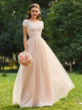 Short Sleeves A Line Tulle Bridesmaid Dress