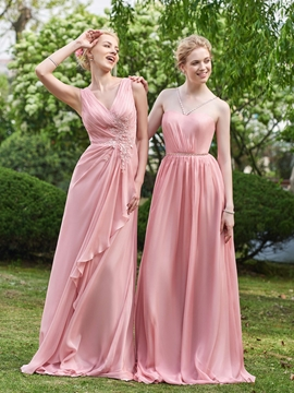 Simple V Neck A Line Long Bridesmaid Dress